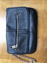Topshop torebka kopertówka czarna złoty łańcuch