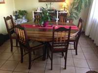 Image of Rare Knysna Yellowood/Stinkwood 6 seater Dining Room Table and Chairs