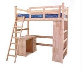 Milan 3/4 bunk bed with an inclusive dtidy desk and book shelf.