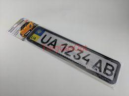 Подставка, рамка под номер нержавейка Черная + сетка (РНС-75055)