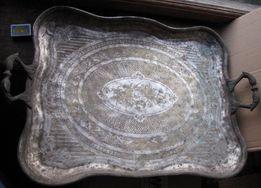 Большой тяжёлый серебряный поднос фирмы FRAGET с клеймами