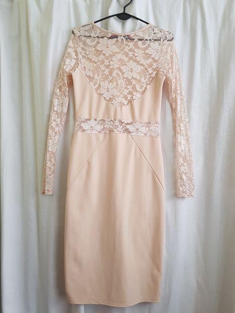 Sukienka ecru midi ,koronka Boohoo Oświęcim - image 2