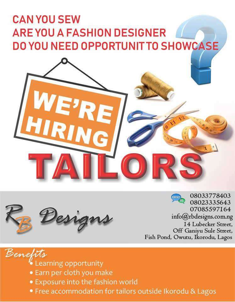 PROFESSIONAL FASHION DESIGNERS AND TAILORS URGENTLY NEEDED 0