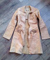 Płaszcz elegancki beżowy cielisty skóra naturalna S na zasuwak Haute