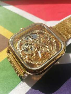 Brand new Gold skeleton automatic watch for sale