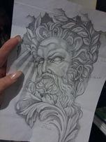 Эскизы тату, sketchs, иллюстрации