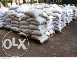 В мешках- песок,цемент,щебень,керамзит,отсев,шлак и насыпом.доставка.