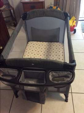 Hardly used camp cot/ co-sleeper with mattress and bedding