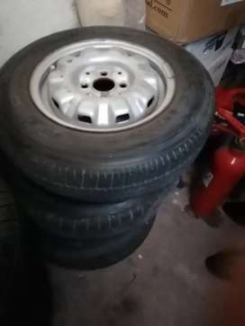 13 inch Steel rims and 4 tyres