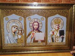 Икона святой Троицы Картина бисером 48*66см. Ручная работа