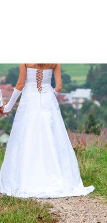 Suknia ślubna biała 36/38 +welon+buty+kamizelka+krawat Kraków - image 3