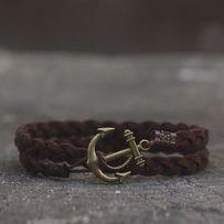 Плетёный замшевый браслет на руку. Мужской браслет с якорем Port Royal