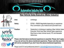 New Vehicle Sales Executive (Motor Industry) – Umhlanga