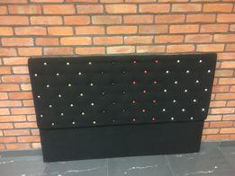 Zagłówek tapicerowany czarnym welurem 160 cm x 105 cm pikowany
