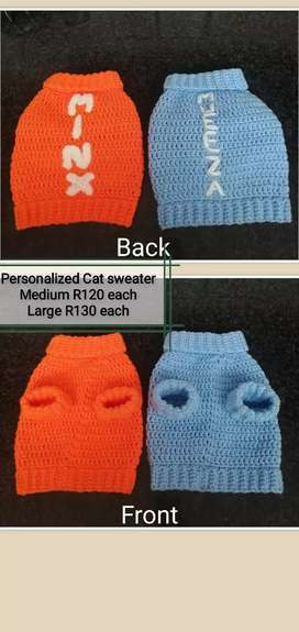 Crochet personalized Cat sweater to order