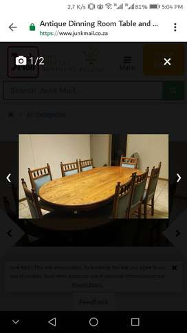 Antique Dinning Room Table with 8 Chairs