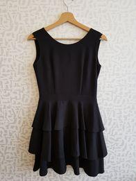 Czarna sukienka z falbankami bez rękawka, studniówka!
