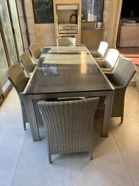 8 seater patio dining table, granite top, alu frame & 8 wicker chairs