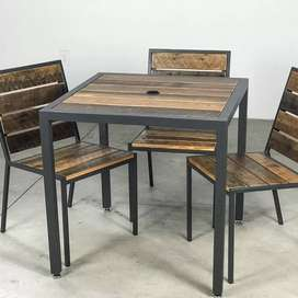 Industrial style restaurant tables and chairs specials.