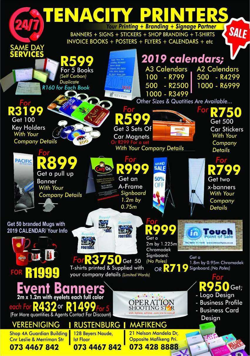 24/7 printing services in Mafikeng & Surrounding areas 0