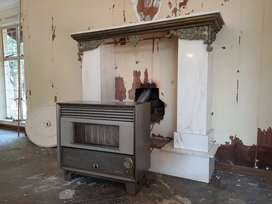 Diesel fireplace with marble surround
