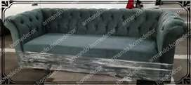 New charcoal grey velvet 3 seater Chesterfield couch with buttons