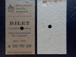 Bilet kartonikowy na bieszczadzka drezynę rowerową - Unikat