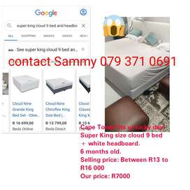Dont miss this! Super King size Cloud 9 bed + white headboard for sale