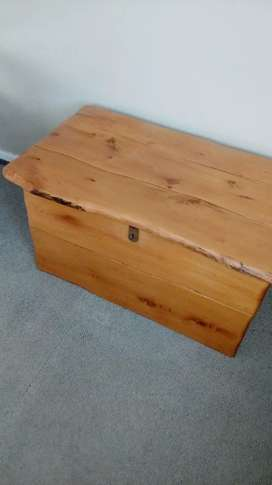 Yellow wood chest and side tables
