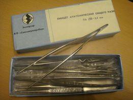 Пинцет медицинский 15 см. новый, экспортный вариант СССР