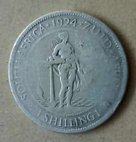 Second issue 1924 S.A silver shilling