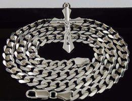 Srebrny Łańcuszek Pancerka 50cm 7,2mm Łańcuch Męski Srebrny + Krzyżyk
