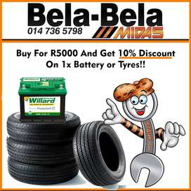 Buy for R5000 & get 10% discount on 1x Battery or Tyres