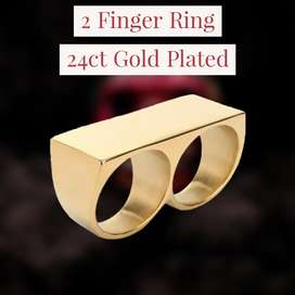 2 Finger RING 24ct GOLD PLATED