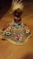 Кукла коллекционная, оригинальная Мадагаскар в шляпе и юбке из солом