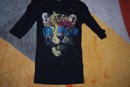 Bluzka czarna z tygrysem roz.140 wiek 9-10 lat - Okazja