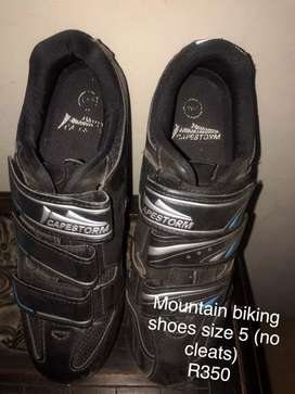 Mountain bike shoes(No cleats size 5) & size 10 with cleats