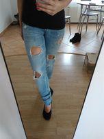 Jeansy dżinsy Zara Basic trafaluc rozdarcia dziury rurki