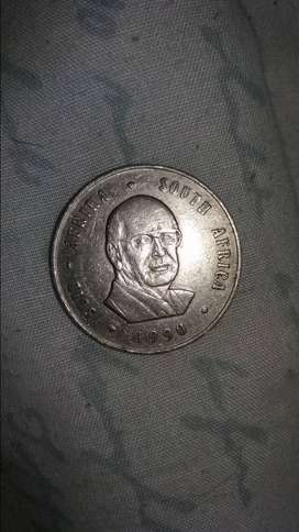 One rand 1990 coin.