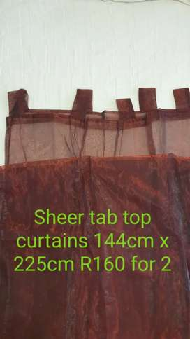Brand new sheer tab top curtains R160 for 2