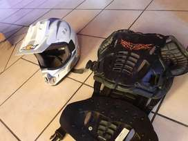 Motorbike helmet and chest protector