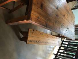 Oregon Pine Dining Table and Benches