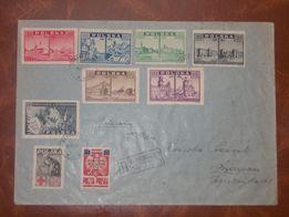 Koperta, tzw. R-ka, z wieloma cennymi znaczkami z 1945 i 1947 roku.