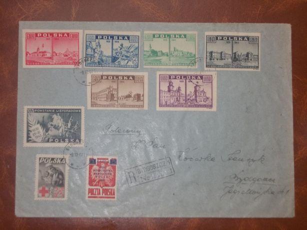 Koperta, tzw. R-ka, z wieloma cennymi znaczkami z 1945 i 1947 roku. Bydgoszcz - image 1
