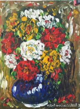 Roses oil on board