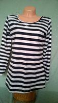 bluzka - tunika w paski biało czarne