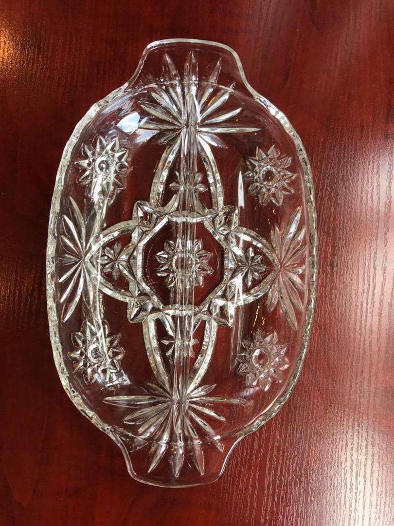 Vintage Star of David Glass Tray 0