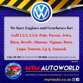 Imported Used VW ENGINES & GEARBOXES for sale at MYM AUTOWORLD