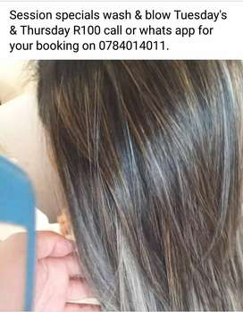 session special wash & blow Tuesday's & Thursday's for only a R100
