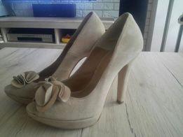 Śliczne nowe buty skórzane czółenka szpilki odkryty palec 36